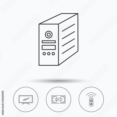 u0026quot tv remote  vhs cassette and pc case icons  u0026quot  stock image