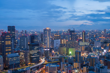 Aerial view of Osaka skyline at twilight