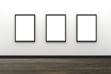 3D Rendering : illustration of three blank black photo frame hanging on white wall interior with wooden floor,clipping path inside frame included,for your image advertising
