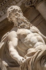 Closeup on Neptune at the Trevi fountain in Rome, Italy