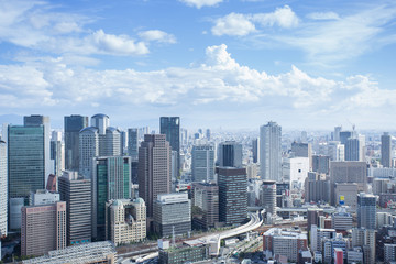 Aerial view skyline of Osaka downtown Japan