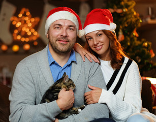 Smiling couple in Christmas time.