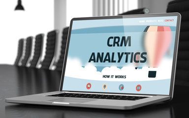 Landing Page of Laptop with Crm Analytics Concept. 3D.