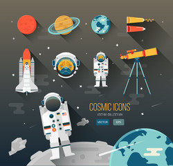 Vector flat education space illustration. Planets solar system. Astronaut of cosmic program.