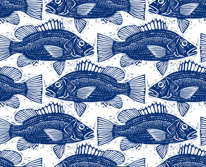 Freshwater vector fish endless pattern, nature and marine theme