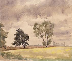 Brandenburger Landschaft, Aquarell