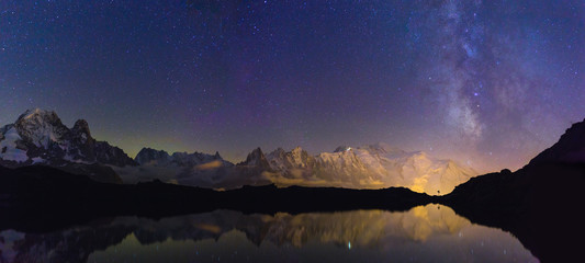 Mont Blanc mountainrange and the milkyway seen from Lac De Chéserys, Chamonix, France.