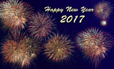 Neujahr und Silvester 2017 mit Feuerwerk und Raketen