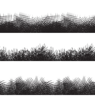 Set seamless black and white borders with pencil strokes. Vector element for frames, invitations and your design