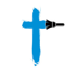 Religious cross vector simple illustration created with smudge b