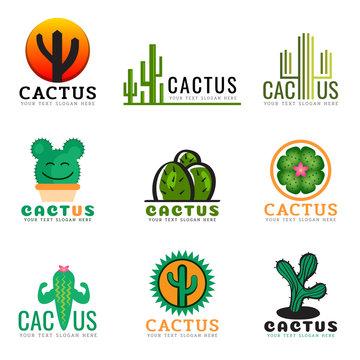 Cactus logo creative vector illustration set design