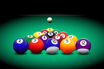 Billiard balls on the table. Vector illustration.
