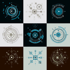 Set vector Bauhaus abstract backgrounds made with grid and overl