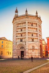 Historical Baptistery building in Parma, Italy.