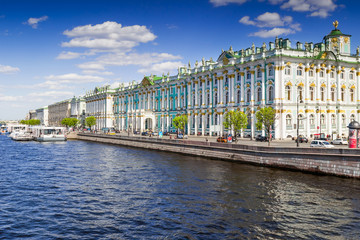Hermitage palace on the bank of Neva river in summer, Saint Petersburg, Russia.