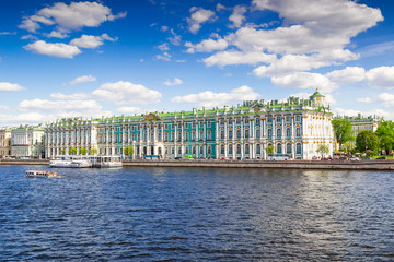 Hermitage palace on the bank of Neva river, Saint Petersburg, Russia.