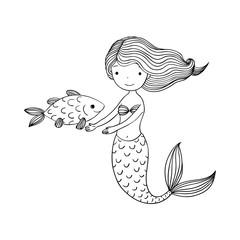 Beautiful little mermaid and fish. Siren.