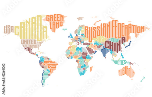 World map made of typographic country names stock image and royalty world map made of typographic country names gumiabroncs Choice Image