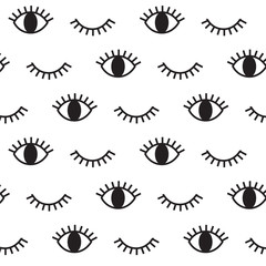 Eye, hipster, vector pattern.