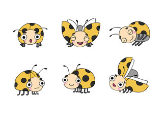 Set of ladybugs.
