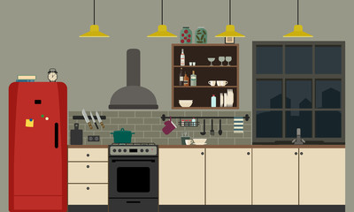Kitchen interior in flat style.