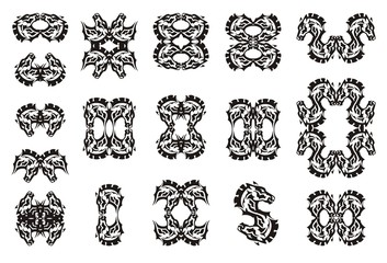 Tribal black horse symbols collection