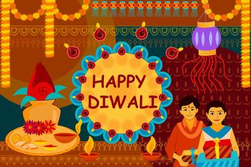 Indian family celebrating Bhai Dooj during Happy Diwali festival background kitsch art India