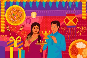 Indian couple with diya Happy Diwali festival background kitsch art India
