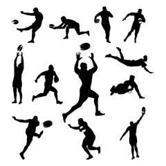 Rugby Male Man Player Different Pose Silhouette Set