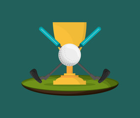 golf ball with trophy cup golfing related icons image vector illustration design