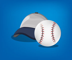ball and cap baseball related icons image vector illustration design