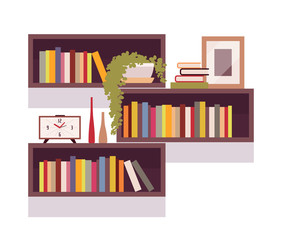 Set of retro rectangle bookshelves isolated against white background. Cartoon vector flat-style illustration