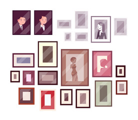 Set of pictures and photos isolated against white background. Cartoon vector flat-style illustration