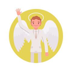 Angel man in a yellow circle. Cartoon vector flat-style illustration