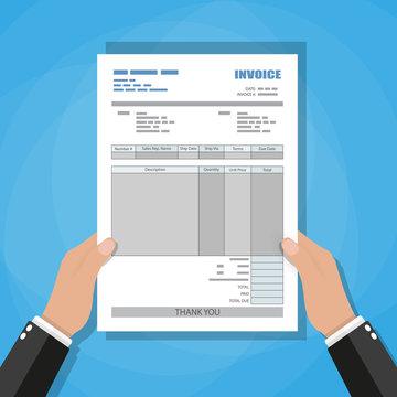 hands. unfill paper invoice form. receipt. bill.