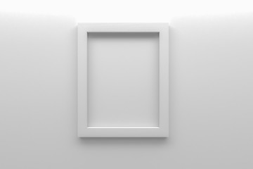 blank white picture frame on wall 3d rendering