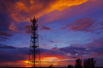 Silhouettes Telecommunication tower Wall mural