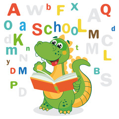 Funny Dinosaur Learn To Read Book And Colored Letters On A White Background. Cartoon School Vector Illustrations. Dinosaur Jokes. Dinosaur Meme. Funny Dinosaur Costume.