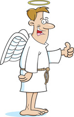 Cartoon illustration of an angel.