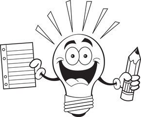 Black and white illustration of a light bulb holding a pencil and paper.