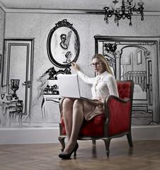 Businesswoman in her luxury flat