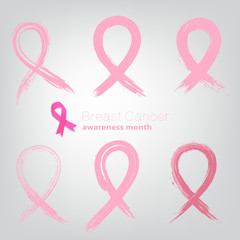 Set of Breast Cancer Awareness Month Signs from brush strokes.