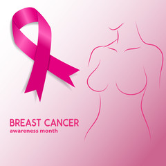 breast cancer  awareness month. Woman silhouette with breast can