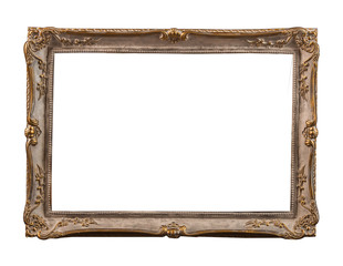 plaster frames for a picture, a photo, and a mirror  isolated on white background