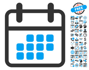 Calendar Month pictograph with bonus calendar and time management graphic icons. Vector illustration style is flat iconic bicolor symbols, blue and gray colors, white background.