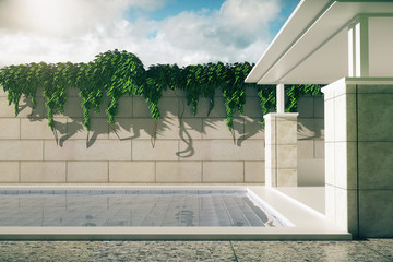 Luxurious pool with patio sideview