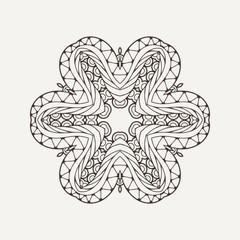 Vector mandala. Mehndi lace tattoo. Oriental weave.