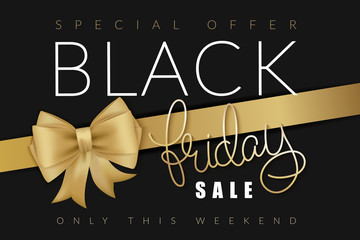 vector illustration of black friday banner with hand lettering golden word - friday - and golden ribbon with bow