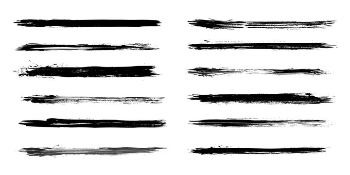 Set of grunge brush strokes in vector.