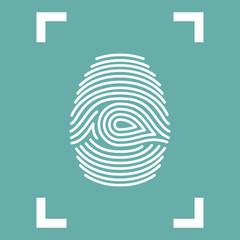 Fingerprint Icon isolated in frame. Vector illustration eps10